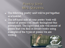 Poetry Unit PowerPoint PPT Presentation