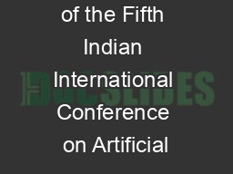 Proceedings of the Fifth Indian International Conference on Artificial