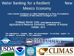 Water Banking for a Resilient               New Mexico Econ