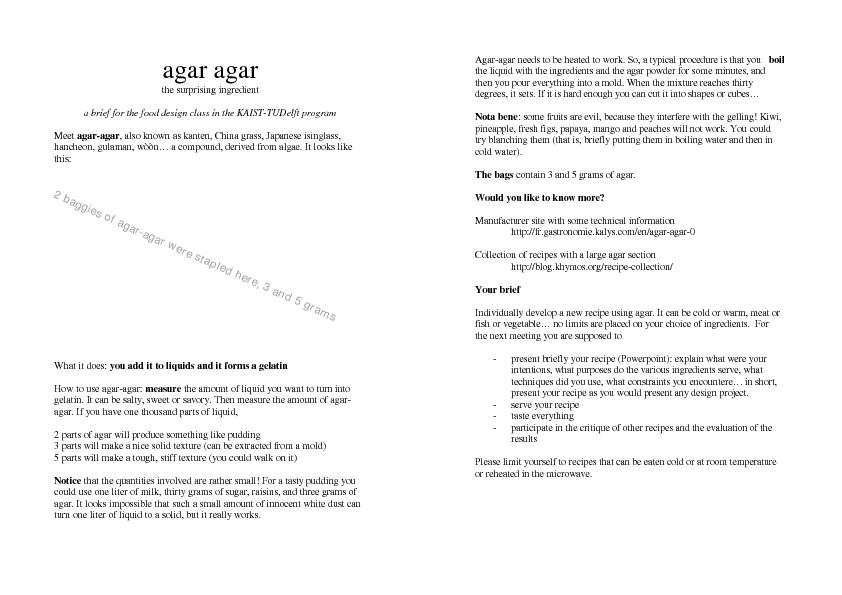 agar agar the surprising ingredient a brief for the food design class