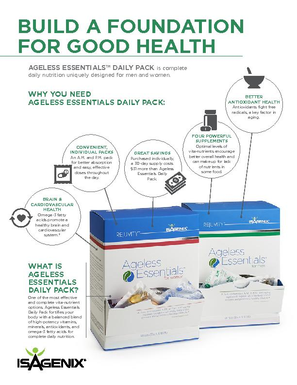 WHAT IS AGELESS ESSENTIALS DAILY PACK?One of the most eective and com