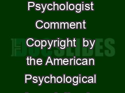 January   American Psychologist Comment Copyright  by the American Psychological Association Inc