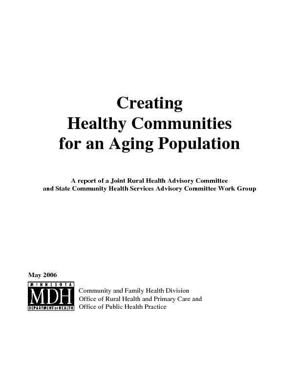 Creating Healthy Communities for an Aging Population
