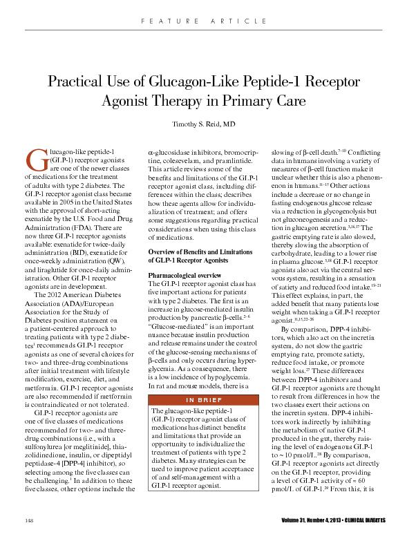 Practical Use of Glucagon-Like Peptide-1 Receptor Agonist Therapy in P