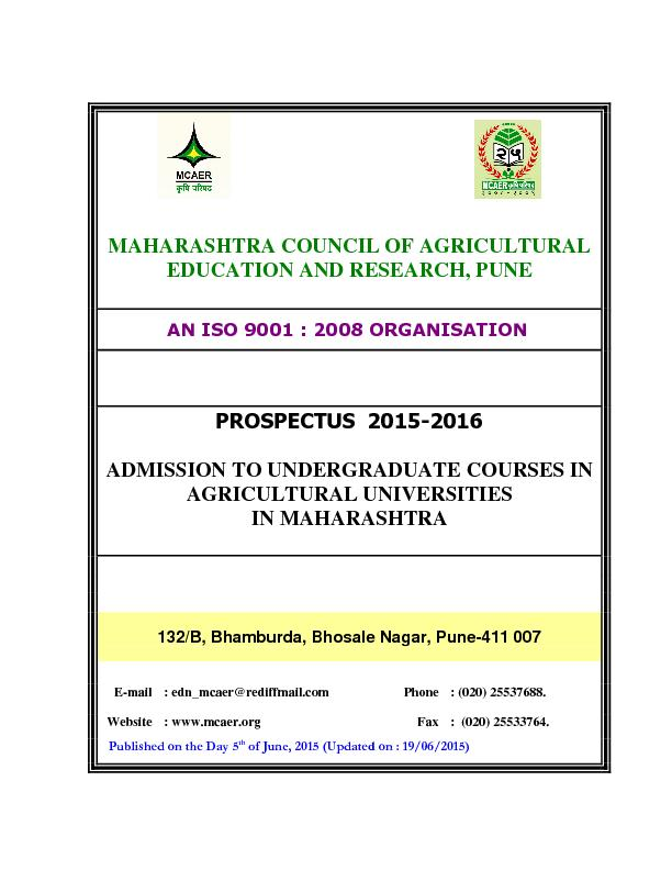 MAHARASHTRA COUNCIL OF AGRICULTURAL EDUCATION AND RESEARCH, PUNE ...