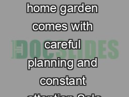 A successful home garden comes with careful planning and constant attention Sele