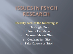 Issues in Psych Research