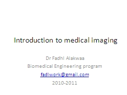Introduction to medical imaging PowerPoint PPT Presentation