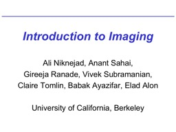 Introduction to Imaging