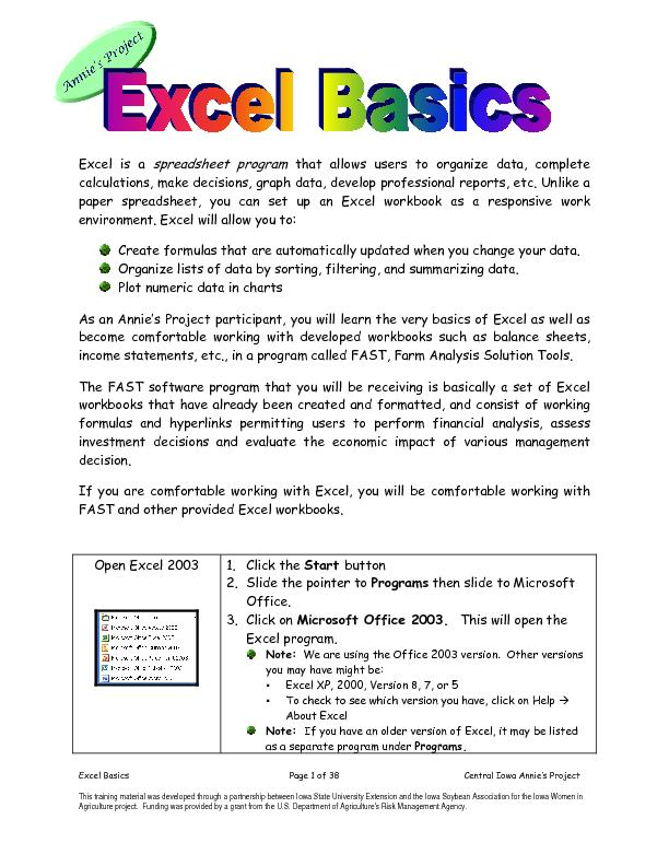 Excel Basics Page 2 of 38 Central Iowa Annie PowerPoint PPT Presentation