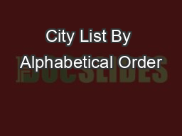 City List By Alphabetical Order
