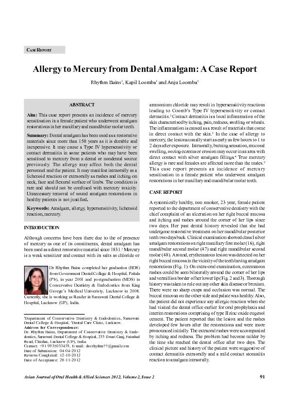 Allergy to Mercury from Dental Amalgam: A Case Report