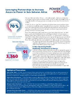 Leveraging Partnerships to Increase Access to Power in SubSaharan Africa Two out