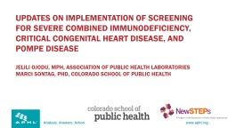 Updates on implementation of screening for severe combined