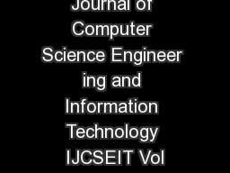 International Journal of Computer Science Engineer ing and Information Technology IJCSEIT Vol