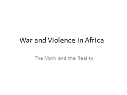 War and Violence in Africa