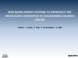 WEB BASED EXPERT SYSTEMS TO REPRESENT THE PROFESSOR'S EXPER