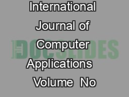 International Journal of Computer Applications   Volume  No