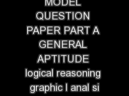 MODEL QUESTION PAPER PART A GENERAL APTITUDE logical reasoning graphic l anal si
