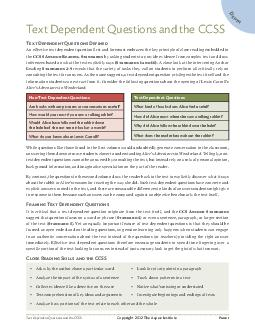 Text Dependent Questions and the CCSS P  Text Dependent Questions and the CCSS T