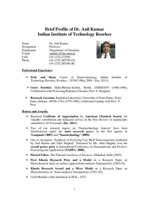 Brief Profile of Dr. Anil Kumar Indian Institute of Technology Roorkee