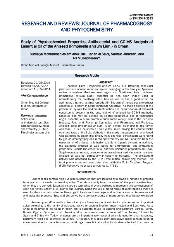 RESEARCH AND REVIEWS: JOURNAL OF PHARMACOGN