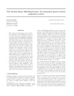 The Toronto Paper Matching System An automated paperrevi ewer assignment system Laurent Charlin lcharlincs