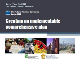 Creating an implementable comprehensive plan