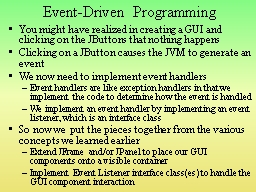 Event-Driven Programming PowerPoint PPT Presentation