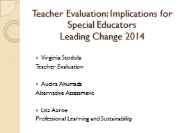 Teacher Evaluation: Implications for Special Educators