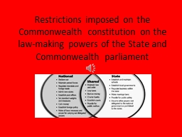 Restrictions imposed on the Commonwealth constitution on th