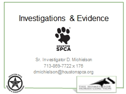 Investigations & Evidence PowerPoint PPT Presentation