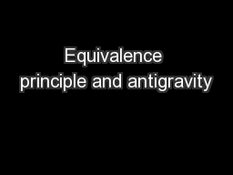 Equivalence principle and antigravity