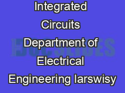 DSP Integrated Circuits Department of Electrical Engineering larswisy