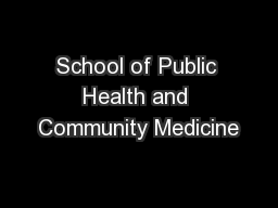School of Public Health and Community Medicine