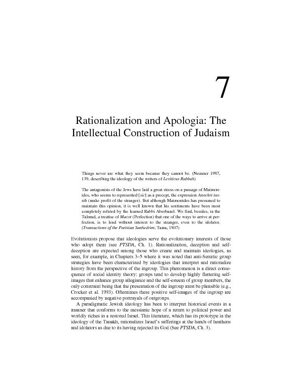 Rationalization and Apologia: The Intellectual Construction of Judaism