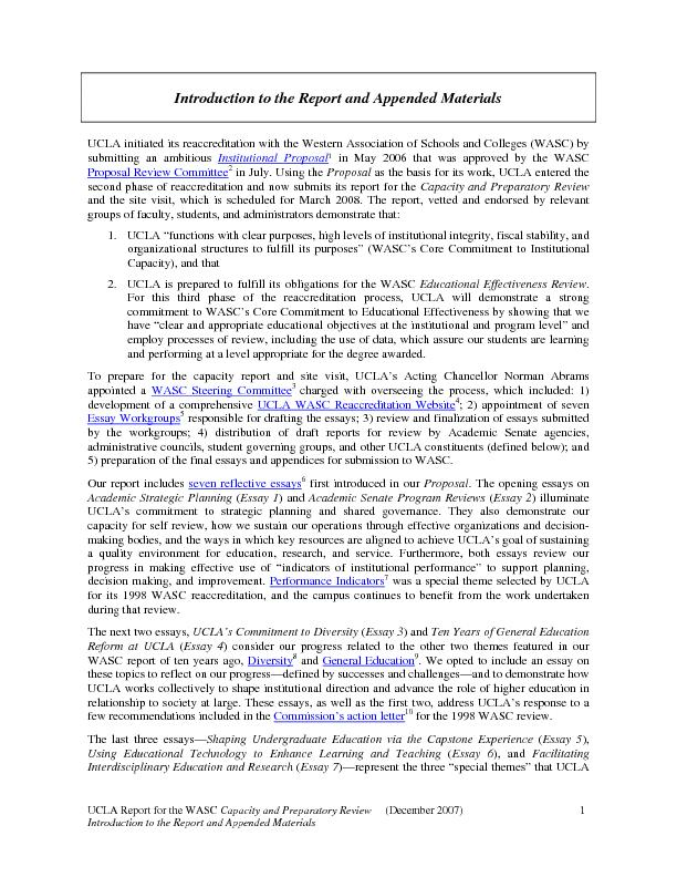 UCLA Report for the WASC Capacity and Preparatory Review     (December
