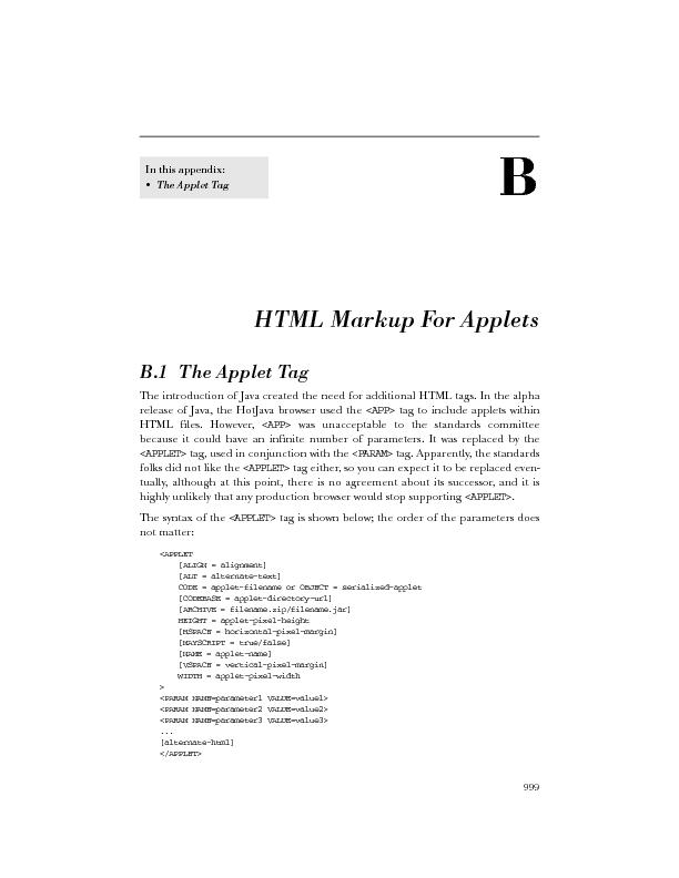 HTML Markup For Applets