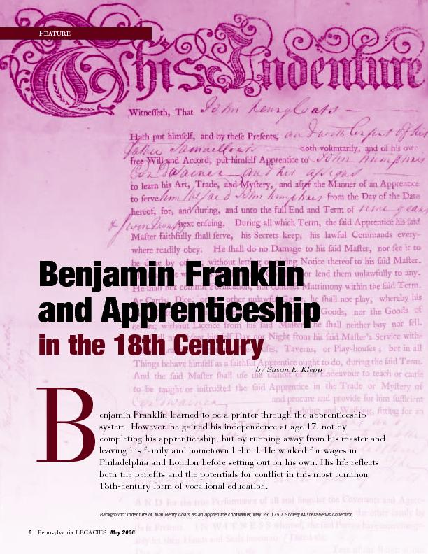 Benjamin Franklinand Apprenticeshipin the 18th Century