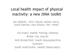 Local health impact of physical inactivity: a new JSNA tool