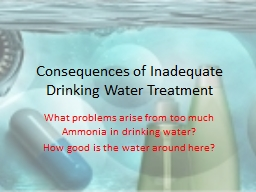 Consequences of Inadequate Drinking Water Treatment