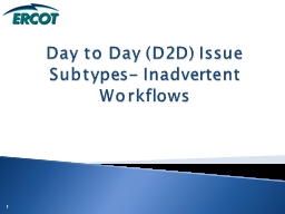 Day to Day (D2D) Issue Subtypes- Inadvertent Workflows