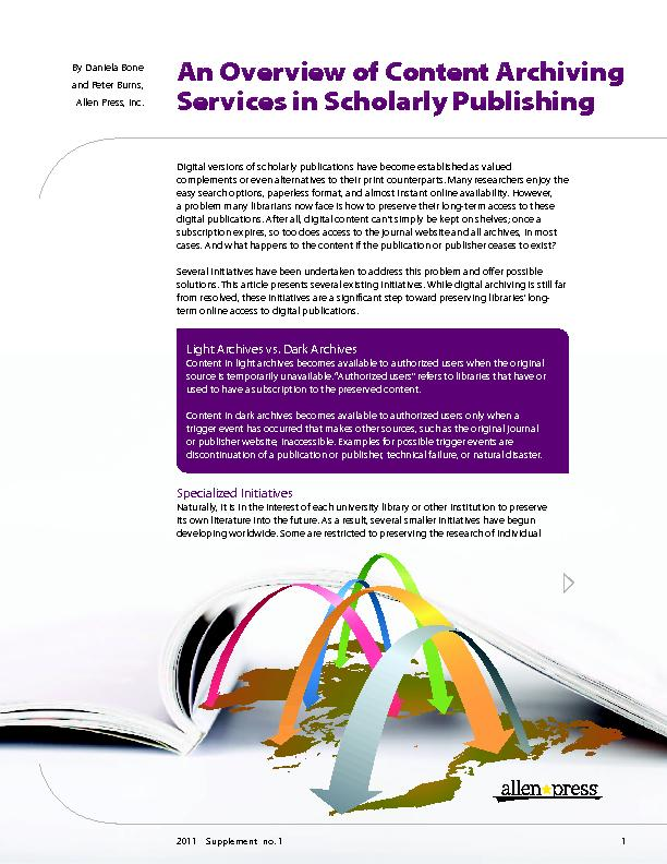 An Overview of Content Archiving Services in Scholarly Publishing ...
