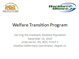 Welfare Transition Program PowerPoint PPT Presentation