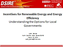 Incentives for Renewable Energy and Energy Efficiency PowerPoint PPT Presentation