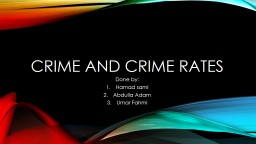 Crime and crime rates