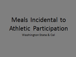 Meals Incidental to Athletic Participation