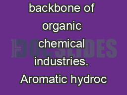 Aromatics are backbone of organic chemical industries. Aromatic hydroc