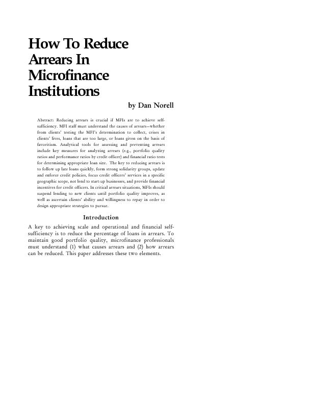 How To Reduce Arrears In Micro