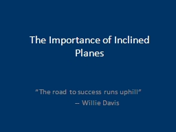 The Importance of Inclined Planes